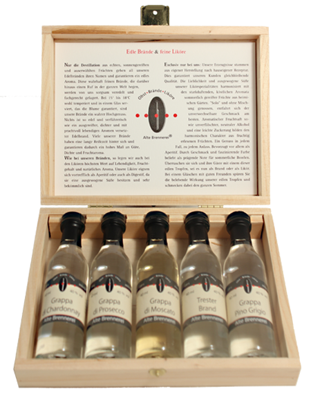 Holzkiste Auslese Grappa